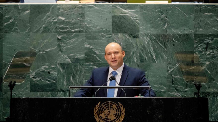 El premier israelí, Naftali Bennett, ofrece discurso en el 76.º período de sesiones de la AGNU, 27 de septiembre de 2021. (Foto: AFP)