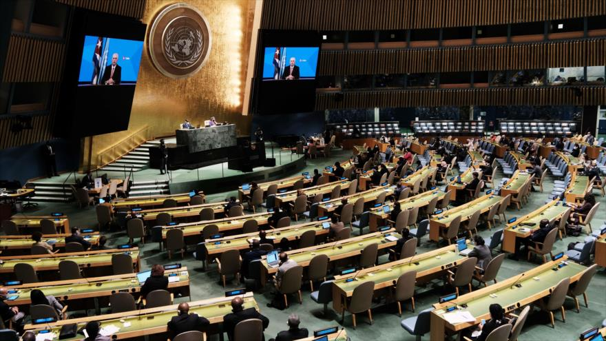 La Asamblea General de ONU, mientras el presidente cubano, Miguel Díaz-Canel, ofrece un discurso virtual, 23 de septiembre de 2021. (Foto: AFP)