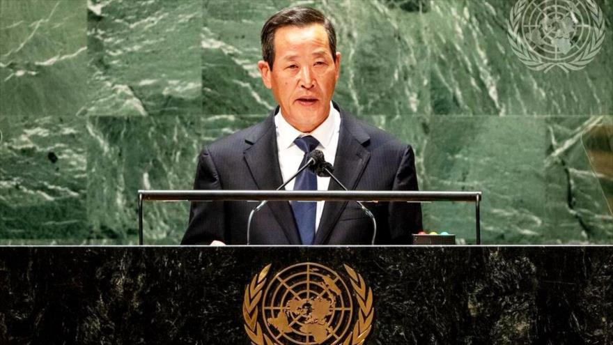 El embajador de Corea del Norte ante las Naciones Unidas, Kim Song, habla ante la Asamblea General de la ONU, 27 de septiembre de 2021. (Foto: un.org)