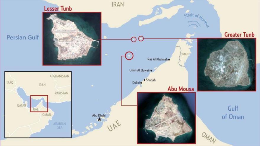 Las islas de Bu Musa, Tomb Mayor y Tomb Menor, situadas en el estratégico estrecho de Ormuz, la boca del Golfo Pérsico.