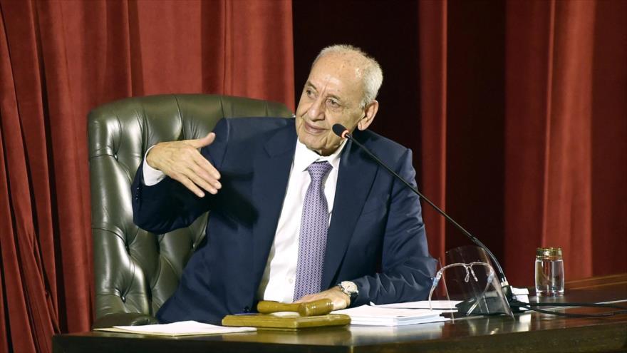 El presidente del Parlamento libanés, Nabih Berri, 20 de septiembre de 2021. (Foto: AFP)