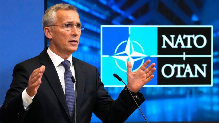 El secretario general de la OTAN, Jens Stoltenberg, en una rueda de prensa en Bruselas, capital de Bélgica, 7 de octubre de 2021. (Foto: AFP)