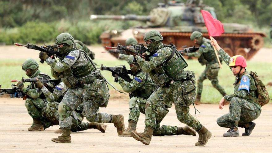 Soldados taiwaneses durante un ejercicio militar, mayo de 2019.