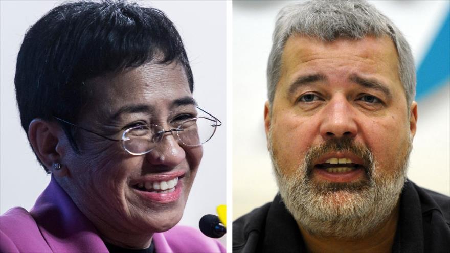 Los ganadores del Premio de Nobel de la Paz 2021, Maria Ressa (izda.) and Dmitry Muratov. (Foto: AFP)