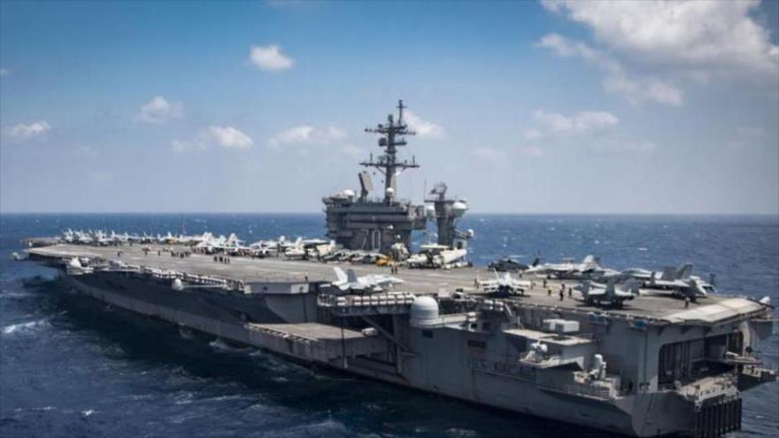 El portaviones estadounidense USS Carl Vinson navegando en el mar de la China Meridional. (Foto: AFP)