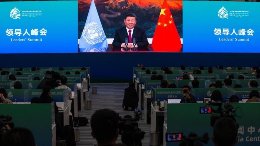 Presidente chino, Xi Jinping, habla en Conferencia de la ONU sobre Biodiversidad (COP 15) en Kunming, China, 12 de octubre de 2021.