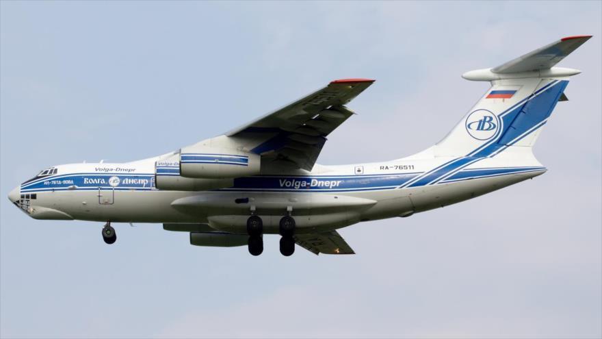 Un avión de carga modelo Ilyushin Il-76MD pertenecido a las Fuerzas Aeroespaciales Rusas.