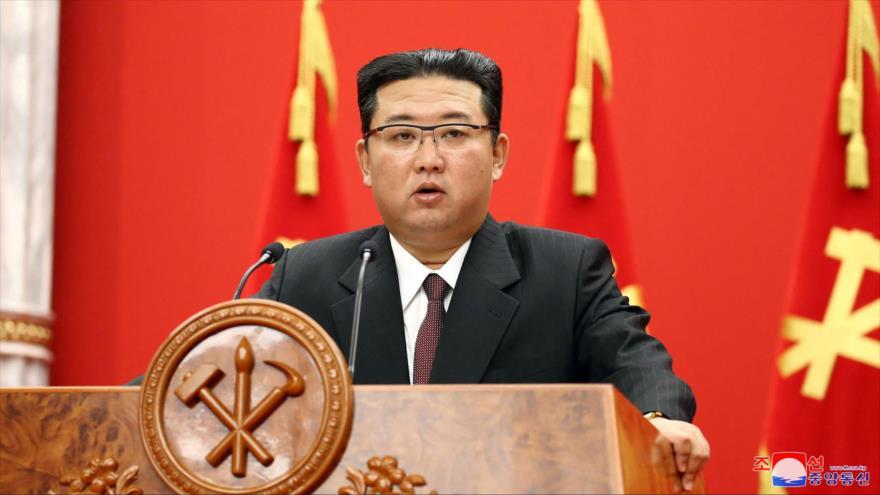 Líder norcoreano, Kim Jong-un, en el 76.º aniversario del Partido del Trabajo del Corea del Norte, Pyongyang, 10 de octubre de 2021. (Foto: AFP)